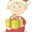 Stock Photo: Baby Santa Claus with a gift box