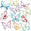 conjunto abstractas mariposas — Vector de stock  #12865689