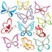 Conjunto abstractas mariposas — Vector de stock