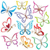 Set abstract butterflies — Vector de stock
