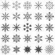 Snowflakes outline, set — ストック写真