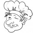 Cooks head in a cap, contour — Stock Photo