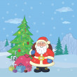 Santa Claus in winter forest - Stock Photo