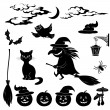 Halloween cartoon, set black silhouette — Stock Photo