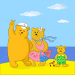 Stock Photo: Teddy bears family on a beach