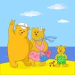 Teddy bears family on a beach — Stock Photo