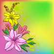 Foto Stock: Flower background, lily and mine