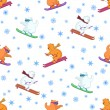 Royalty-Free Stock Photo: Background, teddy bears ski