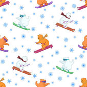 Background, teddy bears ski — Stock Photo