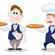 Waiters deliver a hot pizza - Stock Photo
