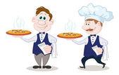 ウェイターはあつあつのピザを提供します。 — ストック写真