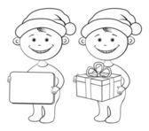 Children Santa Claus outline — Stock Photo