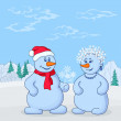 Snowmans in winter forest — Stock Photo