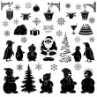Stock Vector: Christmas cartoon, set black silhouettes