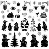 Christmas cartoon, set black silhouettes — Stock Vector
