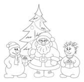 Santa Claus, Christmas tree and snowmans, outline — Stock Photo