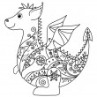 Cartoon Dragon, outline — Stock Photo