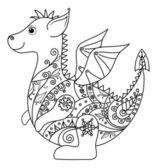 Cartoon Dragon, outline — Stock Photo