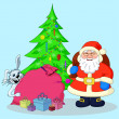 Santa Claus, Christmas tree and gifts — Stock Photo