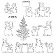 Set snowman and Christmas tree, outline — Stock Vector #14068579