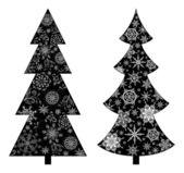 Christmas trees, silhouette — Stock Photo