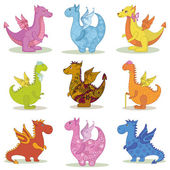 Set cartoon Dragons — Stock Photo