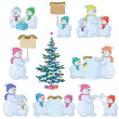 Set snowman and Christmas tree - Stock Photo