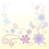 Fleurs, feuilles et papillons — Photo