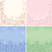 Set abstract floral backgrounds — Stock Vector