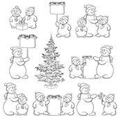 Definir o boneco de neve e árvore de natal, estrutura de tópicos — Foto Stock
