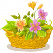 Stock Photo: Basket with flowers alstroemeria