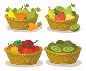 Baskets with fruits and vegetables — Stock Vector