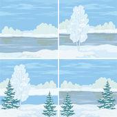 Set winter landscapes — Stock Vector