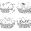 Stock Vector: Baskets with fruits and vegetables, outline