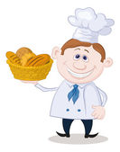 Baker with a basket of bread — Stock Photo