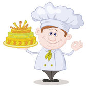 Cook with holiday cake — Stock Photo