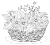Basket with flowers, contours — Cтоковый вектор