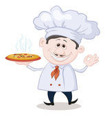 Cook holds a hot pizza — Stock Photo