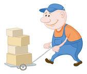 Porter kört lastbil med lådor — Stockvektor