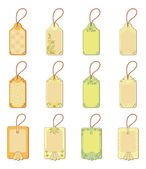 Set tags with floral pattern — Stock Vector