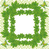 Frame of leaves and butterflies — Stock Photo