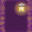 christmas card: vintage lamp and snowflakes — Stock Photo