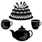 Cake, teapot and cups, contours — Stock Vector