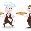 Waiters deliver a hot pizza — Stock Photo
