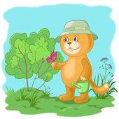 Jardinier de chat avec un papillon — Vecteur