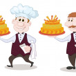 Cook and waiter with holiday cakes — Foto de Stock