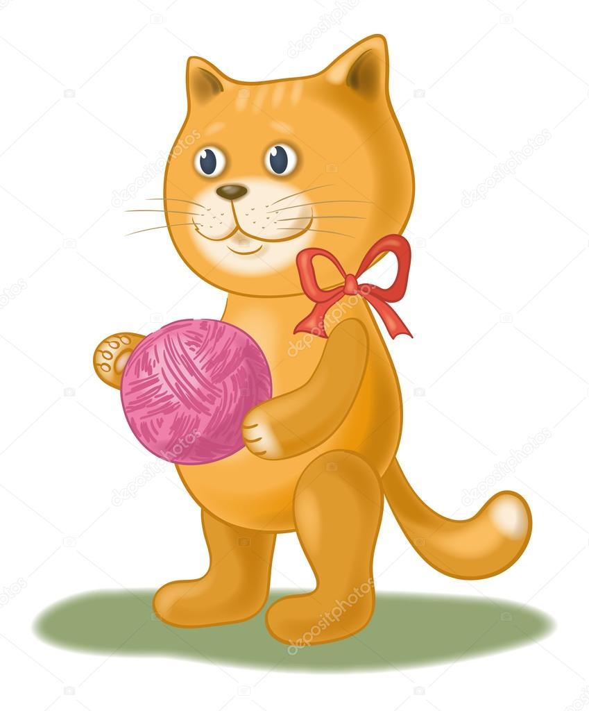 Gatto di cartone animato con un gomitolo filato lana
