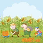 Farmers with the harvest of pumpkins — 图库照片