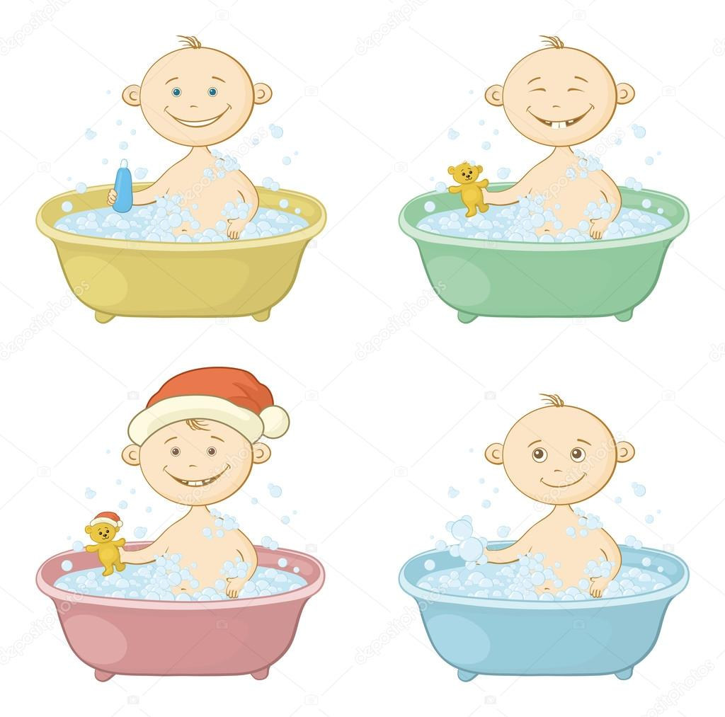 Imagenes De Tomar Un Baño:Niños de dibujos animados en un baño de lavado — Vector de stock