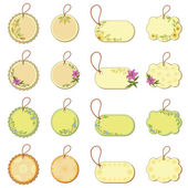 Set tags with floral pattern — Stock Photo